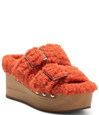 Jessica Simpson Cyriss Faux Shearling Buckle Wedges