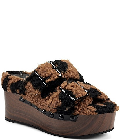 Jessica Simpson Cyriss Leopard Print Faux Shearling Buckle Wedges