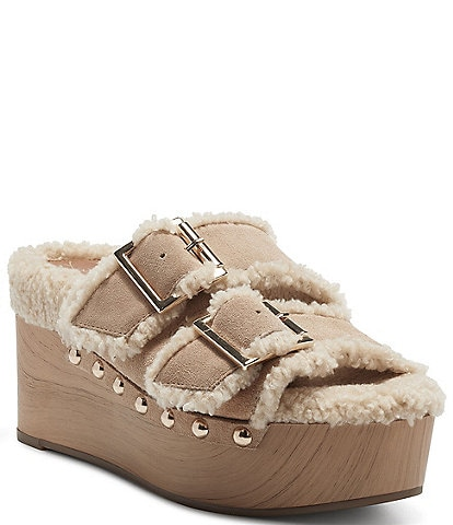 Jessica Simpson Cyriss Suede Faux Shearling Studded Buckle Wedges