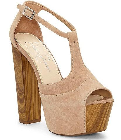 Jessica Simpson Dany Suede Wood Platform Sandals