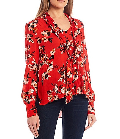 Jessica Simpson Dazed Blooms Long Sleeve Woven Top