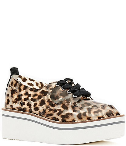 Jessica Simpson Giera Clear Leopard Lace-Up Flatform Wedge Oxfords