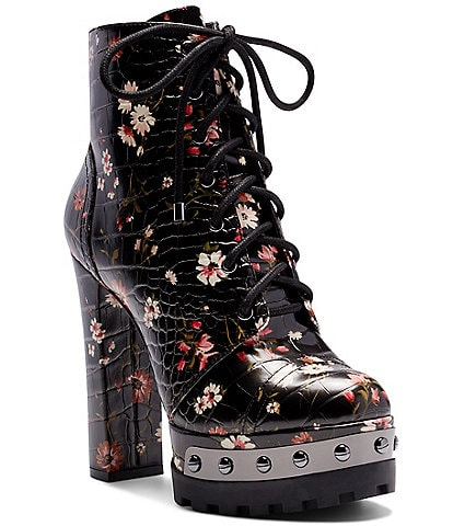 Jessica Simpson Irella Floral Lug Sole Platform Hikers