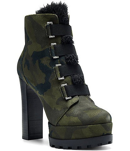 Jessica Simpson Irrena2 Camo Faux Fur Trim Detail Lug Sole Platform Hikers