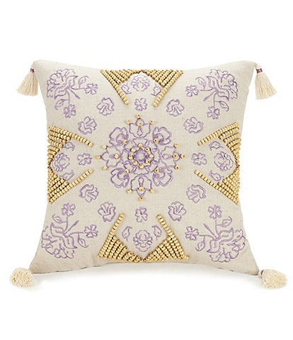 Jessica Simpson Jacky Embroidered Beaded Tassel Linen Pillow