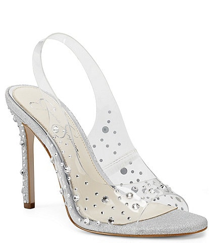 Jessica Simpson Jaisey Clear Rhinestone Embellished Slingback Dress Sandals