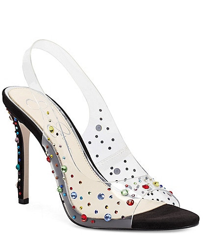 Jessica Simpson Jaisey Clear Rainbow Rhinestone Embellished Slingback Dress Sandals