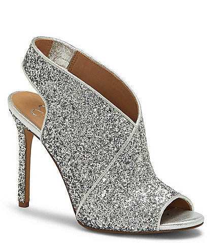Jessica Simpson Jourie Glitter Peep Toe Slingback Stiletto Shooties