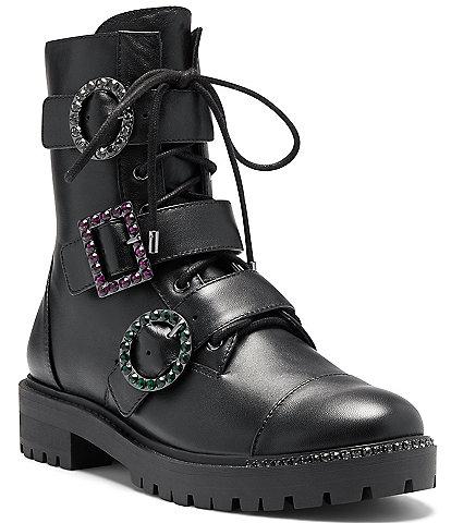Jessica Simpson Kirlah Rhinestone Buckle Detail Leather Combat Boots
