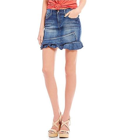 Jessica Simpson Kiss Me Ruffle Denim Mini Skirt