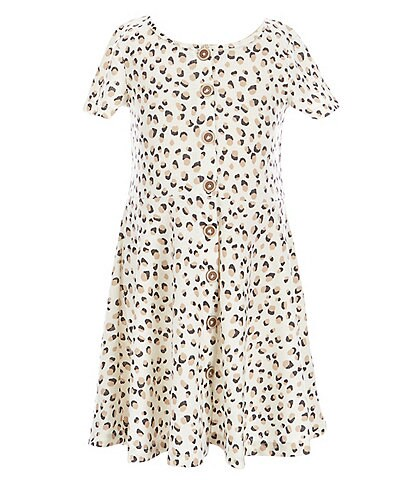 Jessica Simpson Little Girls 2T-6X Short-Sleeve Button-Front Fit-And-Flare Dress