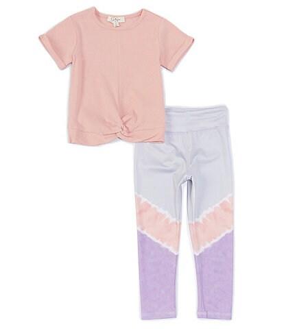 Jessica Simpson Little Girls 2T-6X Short-Sleeve Knot-Hem Athleisure Tee & Leggings Set