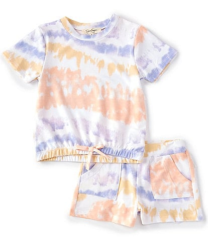 Jessica Simpson Little Girls 2T-6X Short-Sleeve Tie-Dye French Terry Tee & Shorts Matching Lounge Set