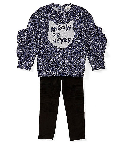 Jessica Simpson Little Girls 2T-6X Two Piece Cheetah-Print Top and Faux-Suede Legging Set