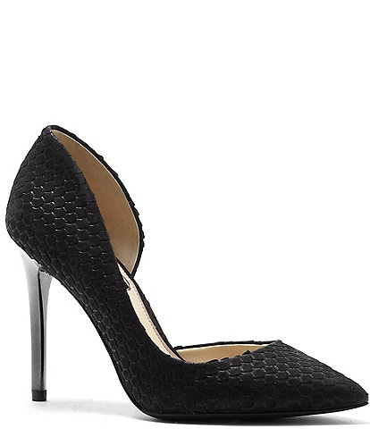 Jessica Simpson Lucina Snake Embossed Iridescent Heel Pumps