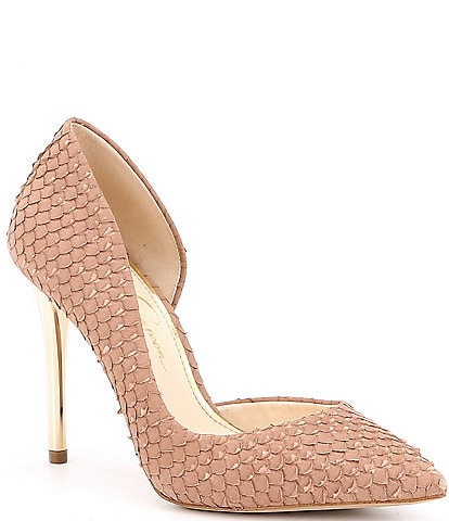 ba43725deff Jessica Simpson Lucina Snake Embossed Iridescent Heel Pumps. color swatch color swatch