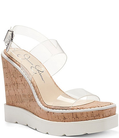 Jessica Simpson Maede Clear Wedge Sandals