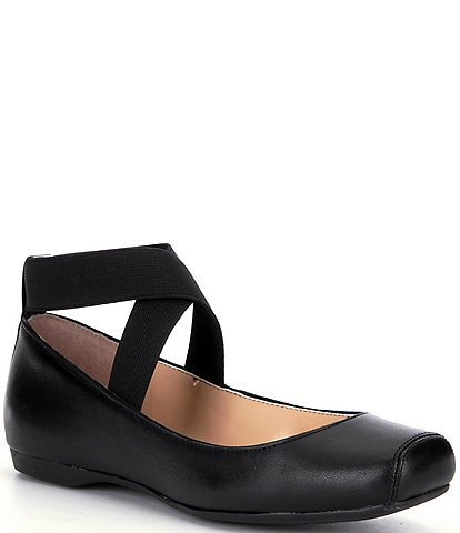 Jessica Simpson Mandalaye Leather Square-Toe Criss Cross Ankle Straps Ballet Flats