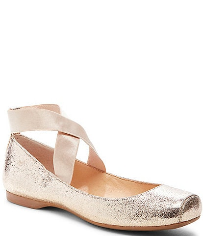 Jessica Simpson Mandalaye Shimmer Square-Toe Criss Cross Ankle Straps Ballet Flats