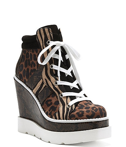 Jessica Simpson Meliney Animal Print Lace-Up Wedge Sneakers