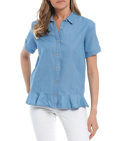 Jessica Simpson Nellie Short Sleeve Button Front Top