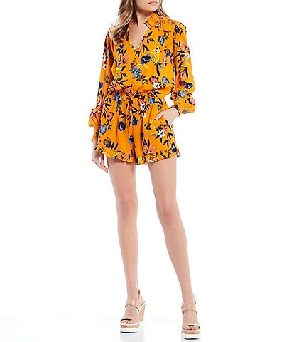Jessica Simpson Pauly Floral Long Sleeve Ruffle Romper