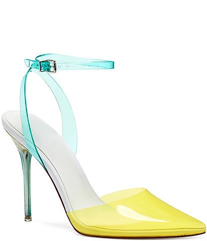 Jessica Simpson Pirrie Clear Point Toe Ankle Strap Pumps