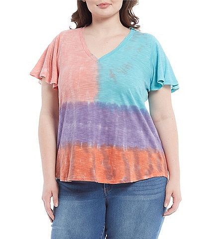 Jessica Simpson Plus Size Carly Watercolor Tie Dye V-Neck Flutter Sleeve Tee