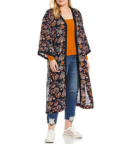 Jessica Simpson Plus Size Gwendelin Floral Print 3/4 Sleeve Open Front Duster