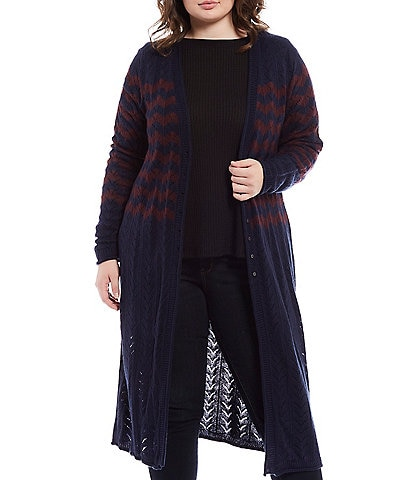 Jessica Simpson Plus Size Jolie Stripe Open Front Duster Cardigan