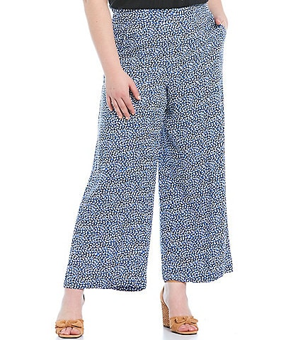 Jessica Simpson Plus Size Julie Paint Dubs Print Pull-On Wide Leg Pants