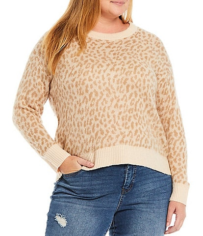 Jessica Simpson Plus Size Kenna Scattered Leopard Print Round Neck Drop Shoulder Long Sleeve Sweater
