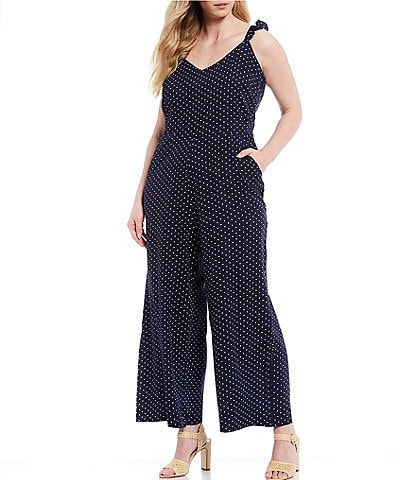 Jessica Simpson Plus Size Martina Ruffle Strap Detail Dotted Print Sleeveless Jumpsuit