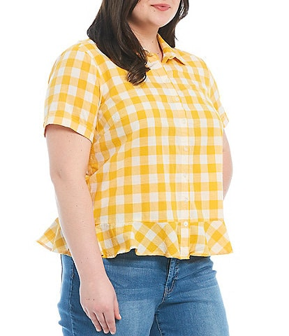 Jessica Simpson Plus Size Nellie Gingham Short Sleeve Button Front Flounce Hem Top