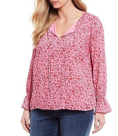 Jessica Simpson Plus Size Sassie Wild Orchid Simple Floral Print Tie Neck Detail Long Sleeve Smock Cuff Detail Top