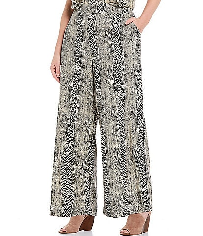 Jessica Simpson Plus Size Sayde Snake Skin Print Pull-On Wide Leg Pants