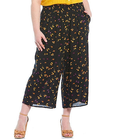 Jessica Simpson Plus Size Senna Black Stranded Petals Smocked Pull-On Pants