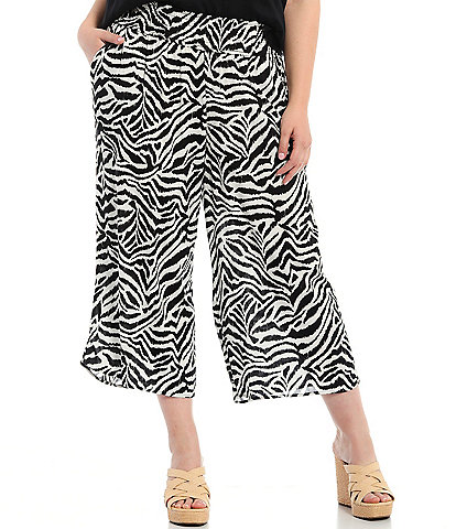 Jessica Simpson Plus Size Senna Gardenia Etched Zebra Smocked Pull-On Pants