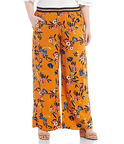 Jessica Simpson Plus Size Shani Floral Print Wide-Leg Pull-On Pants