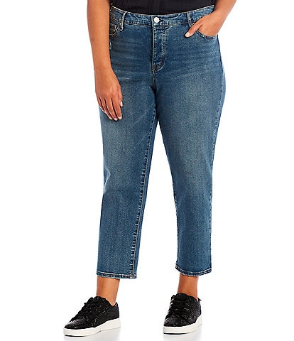 Jessica Simpson Plus Size Throwback High-Rise Straight Leg Ankle Jeans