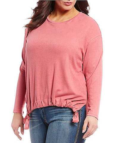 Jessica Simpson Plus Size Wendy Knit Hi-Low Tie Hem Top