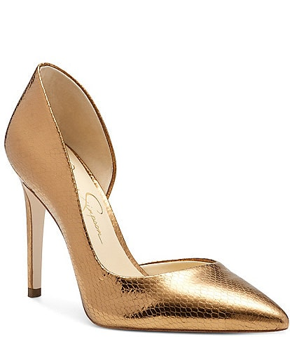 Jessica Simpson Prizma Metallic Snake Embossed d'Orsay Pumps