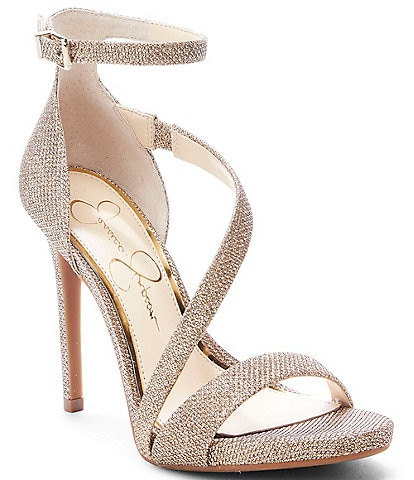 56b7842ad43 Jessica Simpson Rayli Sparkle Fabric Strappy Dress Sandals