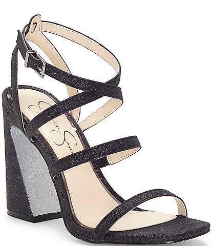 Jessica Simpson Raymie2 Glitter Flair Heel Strappy Square Toe Sandals