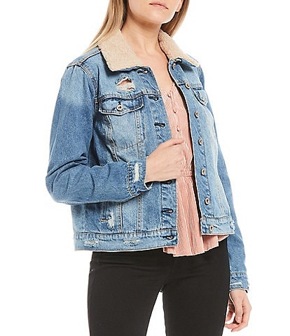 Jessica Simpson Reagan Sherpa Collar Denim Jacket