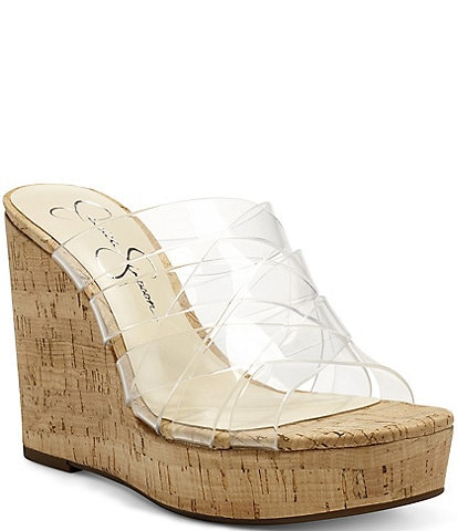 Jessica Simpson Siane Woven Clear Banded Wedges