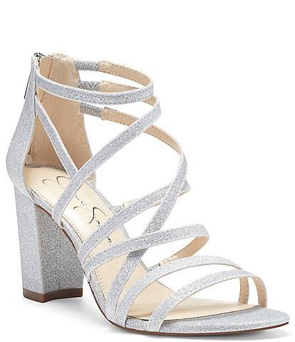 Jessica Simpson Stassey Glitter Strappy Block Heel Sandals
