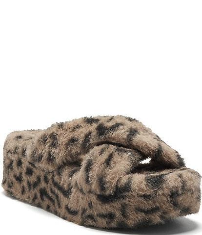 Jessica Simpson Talulla Leopard Faux Fur Criss-Cross Flatform Fuzzy Slides