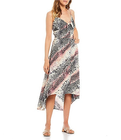 Jessica Simpson Tautou Marble Cheetah Tie Front Maxi Dress