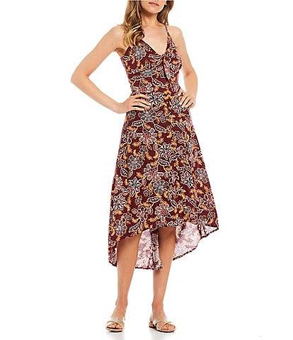 Jessica Simpson Tautou Red Dahlia Tie Front Maxi Dress